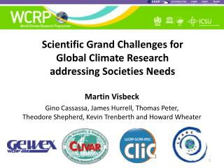 Scientific Grand Challenges for  Global Climate Research  addressing Societies Needs