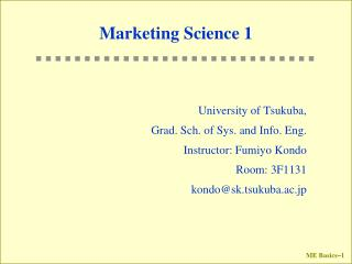 Marketing Science 1