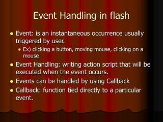 Event Handling in flash