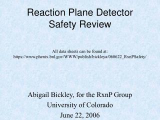 Reaction Plane Detector Safety Review
