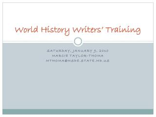 World History Writers� Training