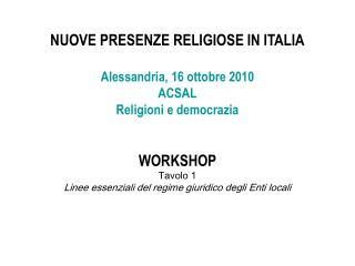 NUOVE PRESENZE RELIGIOSE IN ITALIA Alessandria, 16 ottobre 2010 ACSAL Religioni e democrazia