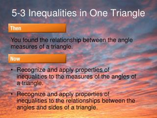 5-3 Inequalities in One Triangle