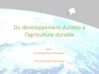 Du développement durable à l'agriculture durable