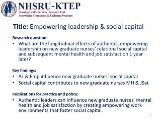 Title:  Empowering leadership & social capital