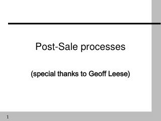 Post-Sale processes