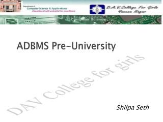 ADBMS Pre-University