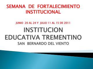 INSTITUCION  EDUCATIVA  TREMENTINO SAN  BERNARDO DEL VIENTO