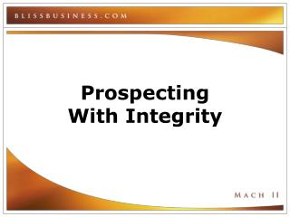 Prospecting  With Integrity