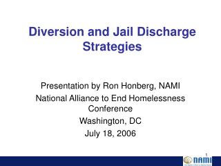 Diversion and Jail Discharge Strategies