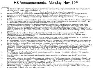 HS Announcements:  Monday, Nov. 19 th