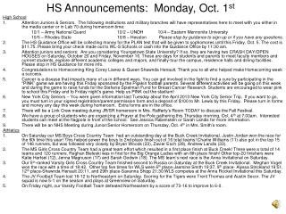 HS Announcements:  Monday, Oct. 1 st