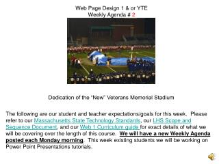 Web Page Design 1 & or YTE Weekly Agenda #  2