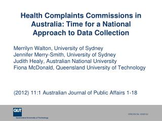 Health Complaints Commissions in Australia: Time for a National Approach to Data Collection