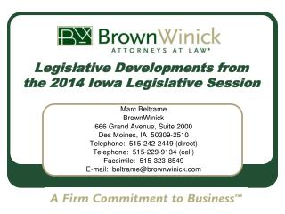 Legislative Developments from the 2014 Iowa Legislative Session