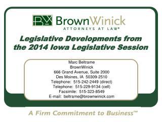 Legislative Developments from the 2014 Iowa Legislative Session
