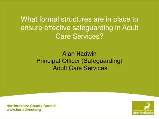 What formal structures are in place to ensure effective safeguarding in Adult Care Services?