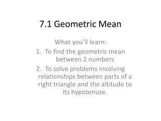 7.1 Geometric Mean
