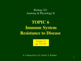 TOPIC 6  Immune System Resistance to Disease