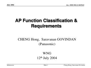 AP Function Classification & Requirements