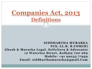 Companies Act, 201 3 Definitions