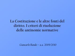 Giancarlo Rando  – a.a. 2009/2010