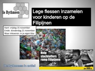 Lege flessen inzamelen voor kinderen op de  Filipijnen
