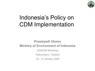 Indonesia's Policy on  CDM Implementation