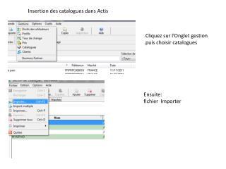 Insertion des catalogues dans Actis