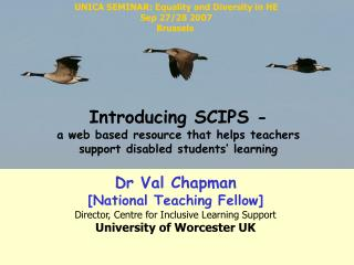 Dr Val Chapman  [National Teaching Fellow] Director, Centre for Inclusive Learning Support