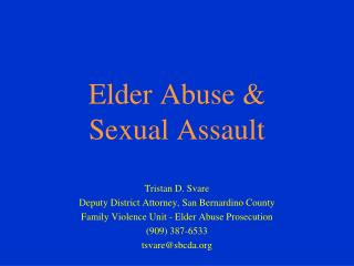 Elder Abuse & Sexual Assault