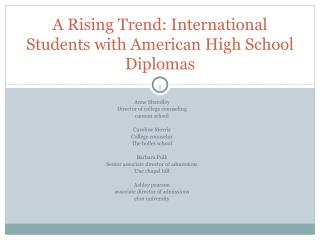 A Rising Trend: International Students with American High School Diplomas
