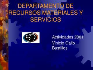 DEPARTAMENTO DE RECURSOS MATERIALES Y SERVICIOS