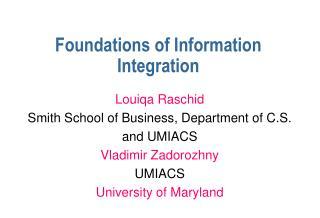 Foundations of Information Integration