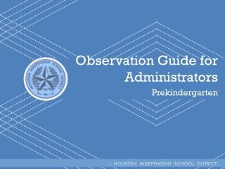 Observation Guide for Administrators Prekindergarten