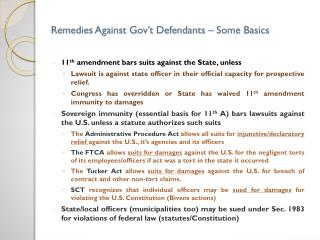 Remedies Against Gov�t Defendants � Some Basics