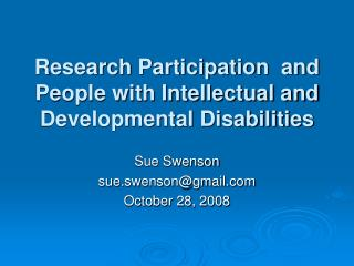Research Participation  and People with Intellectual and Developmental Disabilities