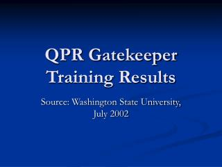 QPR Gatekeeper Training Results