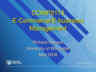 COMP2113  E-Commerce/E-business Management