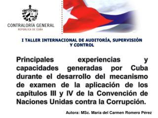 I TALLER INTERNACIONAL DE AUDITORÍA, SUPERVISIÓN Y CONTROL