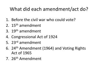 What did each amendment/act do?