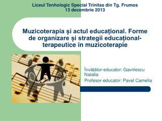 Învățător-educator: Gavrilescu Natalia Profesor-educator: Pavel Camelia