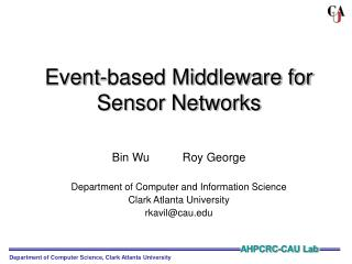 Event-based Middleware for Sensor Networks