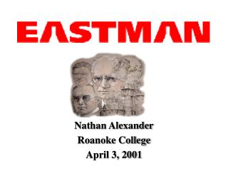 Nathan Alexander Roanoke College April 3, 2001