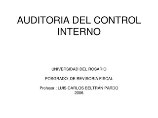 AUDITORIA DEL CONTROL INTERNO