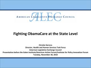 Fighting ObamaCare at the State Level