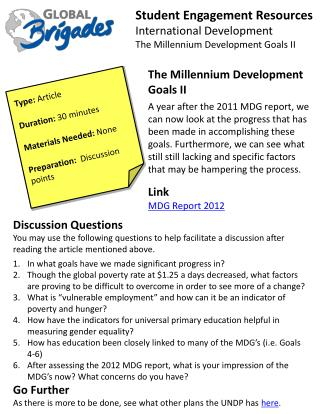 Student Engagement Resources International Development The Millennium Development Goals II