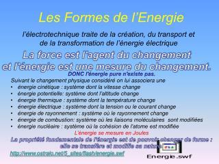 Les Formes de l'Energie