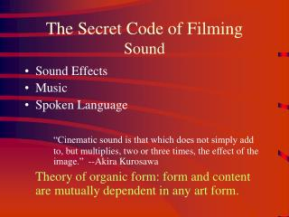 The Secret Code of Filming Sound