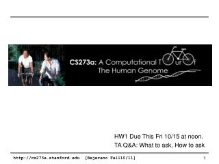 HW1 Due This Fri 10/15 at noon. TA Q&A: What to ask, How to ask